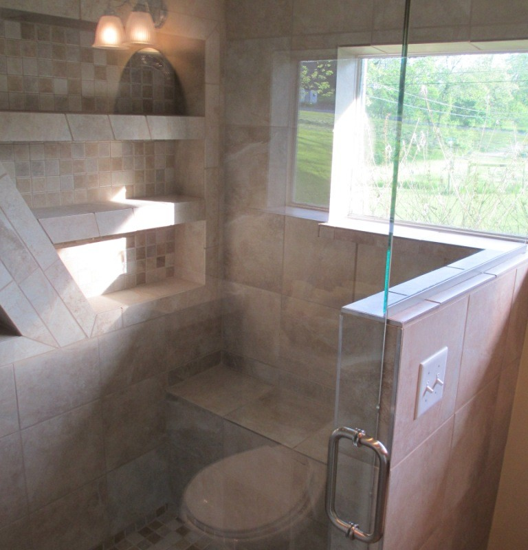 Bathroom Remodel custom glass door fantastic tile work shower tile lighting exhaust fan sink electrical plumbing