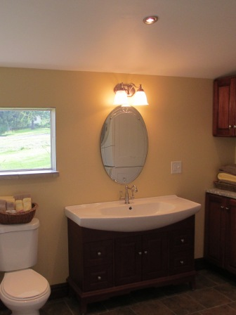 Bathroom Remodel custom tile counter tops vanity lighting detail fine excellent glass door State College