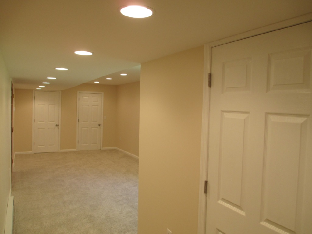 Basement Finishing panel doors french doors electrical plumbing bathroom drywall recessed lighting baseboard heating thermostat switches stylish roomy state college