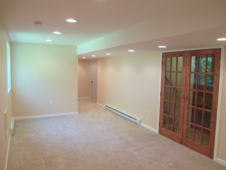 Basement Finishing, French doors, recessed lighting, matching color scheme, renovation, electrical, construction, remodelers