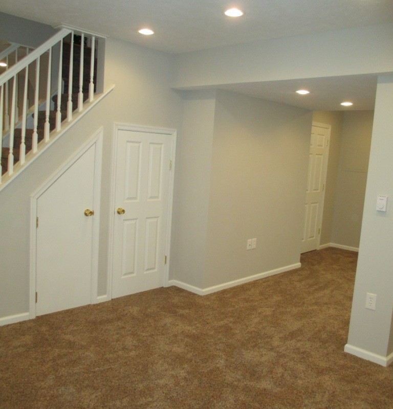 Basement finishing, state college, remodel, renovation, drywall, electrical, recessed lighting, trim,